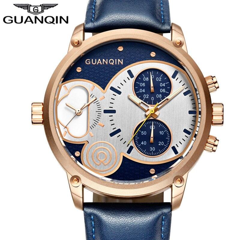 relogio masculino New GUANQIN Brand Watches Men Sport Chronograph Luminous Hands Retro Style Big Leather Waterproof Quartz Watch<br>