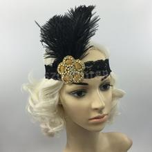 Fashion Women Ladies Vintage Sequin Feather Headband Flapper 1920s Black Charleston Browband Hairband