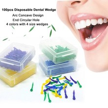 100pcs/box Disposable Dental Wedges Medical Plastic Arc Concave Design Diastema Wedges With End Circular Hole Dentist Tool 4Size(China)