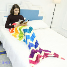 CAMMITEVER New Beautiful Mermaid Tail Rainbow Sofa Blanket Throw Bed Fin Children Girl Kids Children Colorful Princess Handmade