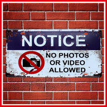 Notice No Photos Or Video Allowed Vintage Car Decor Metal Tin Sign Bar\Pub\Hotel Decorative Metal Sign Art Painting Metal Plaque