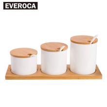Ceramic Spice Jar Salt Pepper Sugar Can 3 pcs Wood Holder Spice Storage Wood Lid(China)