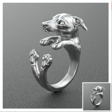 Drop Shipping  retro Italy Greyhound Ring free size hippie animal Greyhound dog Ring jewelry for pet lovers