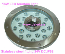 stainless steel,IP68,D250mm 18W LED fountain light,LED pool light,DS-10-52-18W,18*1W,24V DC,Good quality,2-year warranty(China)