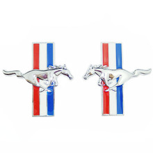 ANTEKE 2PCS Door Fender 3D Emblem Auto Sticker Running Horse For Ford Mustang Badge Logo Decal Car Stlying Free Shipping(China)
