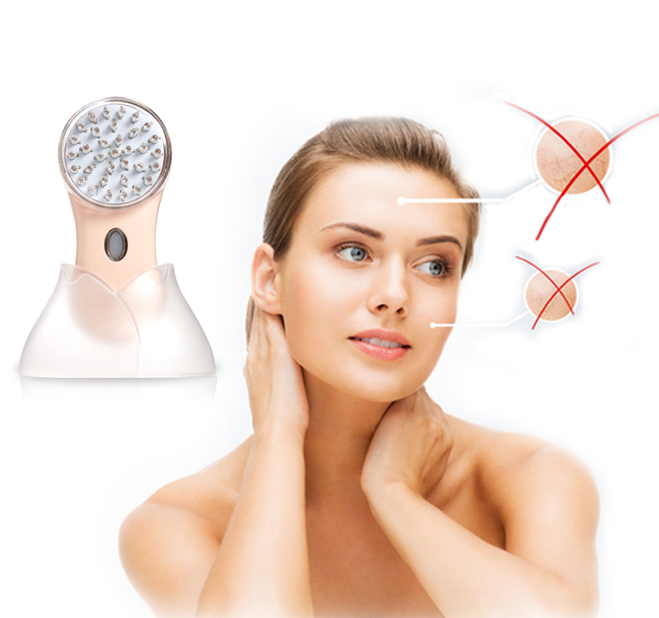 Portable handheld ultrasonic face blue light acne therapy machine Iontophoresis Facial Care rejuvenation device<br>