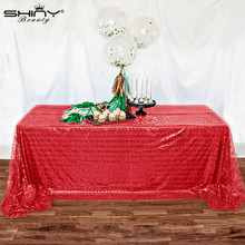ShinyBeauty 150X260CM Red Christmas Table Covers Sparkling Custom Made Red Sequin Tablecloth for Home Banquet Decoration(China)