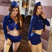 Buy Women Nightclub Sexy Stewardess Uniforms Female Police Tight Package Hip Skirt Set Student Role-playing Cosplay Costume Lingerie