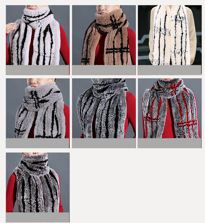100% Real Rex Rabbit Fur Scarves Wraps For Women Winter Handmade 2018 New Fashion Long Natural Fur Scarf   (6)