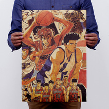 The Japanese Anime SLAM DUNK Nostalgic Vintage Kraft Paper Movie Poster Home Decor Wall Decals Art Removable Retro Painting(China)