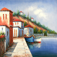 Frameless Wall Decor Modular Pictures Painting Canvas Painting For Living Room Romantic Harbor Mediterranean Painting