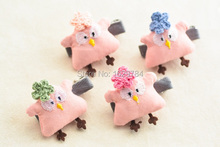 Wholesale 20pcs/4C Fashion Cute Crochet Flower Chicken Girls Hairpins Solid Kawaii Pink Chick Hair Clips Headware Accessories