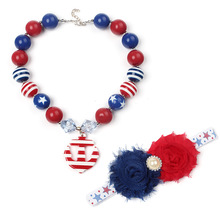 American Flag Style Striped Chunky Beads Girls Necklace Baby Head wear Hair bands Set Kids Birthday Favorite Fancy Gift WX5