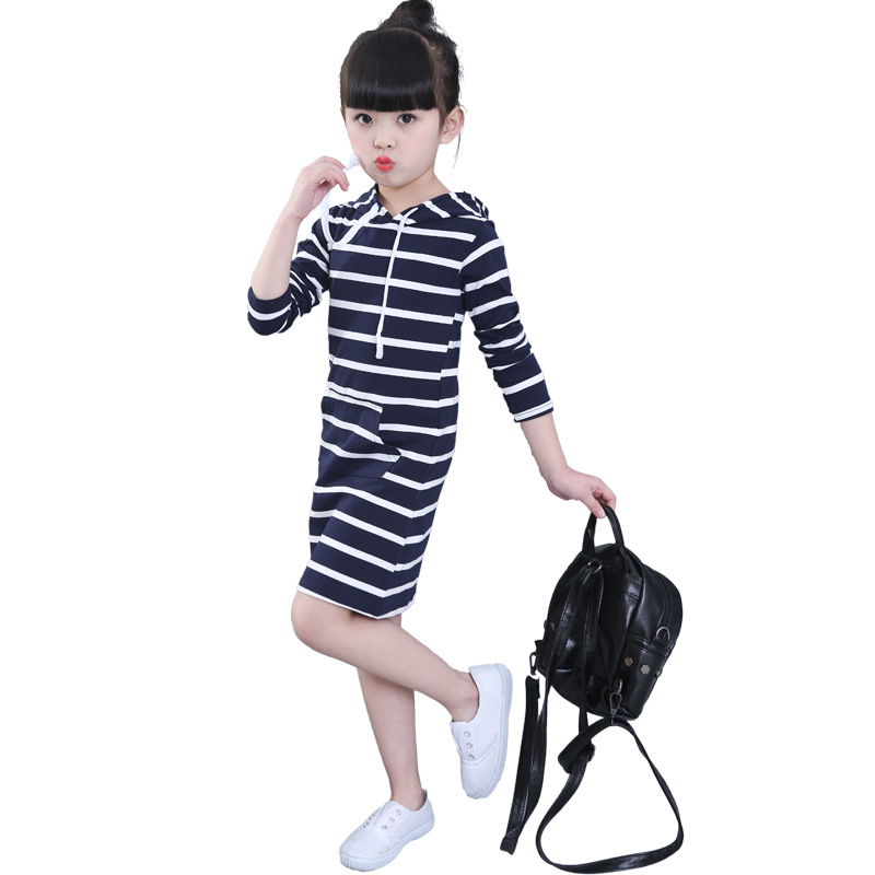 4T-12T Girl Dresses Sailor Suit Princess Preppy Style Dresses Long Sleeves Cotton Girl Dresses Spring Summer Autumn<br>