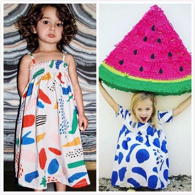 2017 ins summer bobo choses blue fruit cotton sleeveless  girls dresses for girls kikikids nununu baby girl clothes kids clothes<br><br>Aliexpress