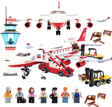 856pcs Building Blocks Airport Airliner Plane Aerospace Toys Children's Birthday Present Intelligence Creative Plaything