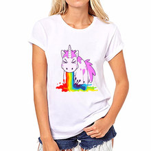 2017 Fashion Harajuku Rainbow Unicorn Top Women Tshirt Kawaii Unicornio T Shirt Short Sleeve Funny Shirts Blusas Licorne T-shirt(China)