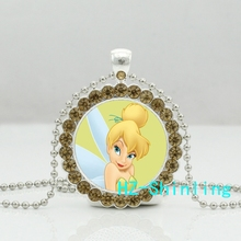 New Cute Tinker Bell Crystal Neckalce Tinkerbell Photo Pendant Glass Jewelry Silver Ball Chain Necklaces Girl