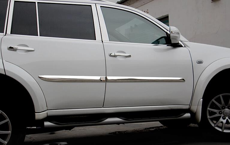 Metal Side Door Body Molding Protector Cover Trims 4pcs For Mitsubishi pajero sport 2011-2014<br><br>Aliexpress