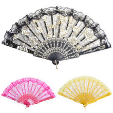 1pc Colorful Flower Party Wedding Prom Hand Fans Chinese Style Lace Silk Folding Hand Held Dance Fans