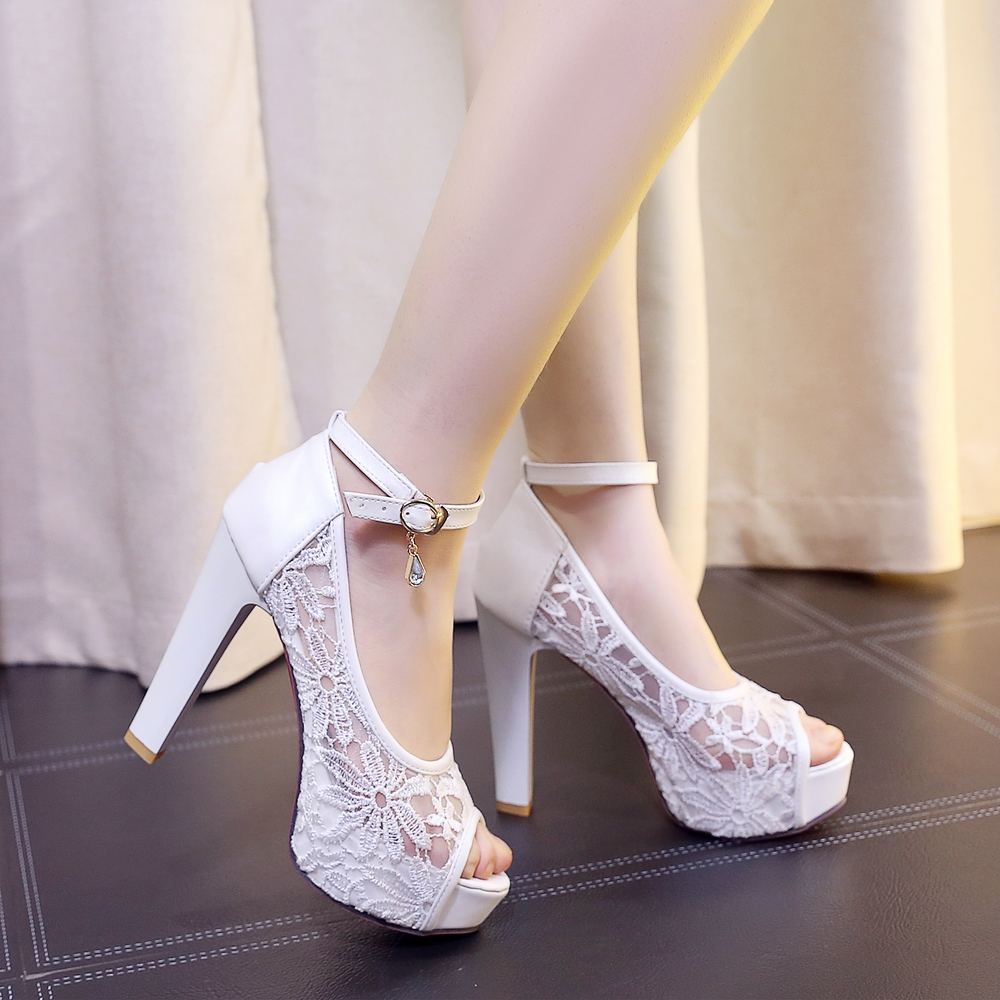 Womens summer party prom shoes ladies peep toe platform white beige wedding sandals strappy red bottom high heels big size S-32<br><br>Aliexpress