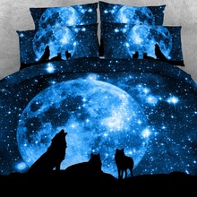 Royal Linen Source Brand 3 PCS PER SET Wolf Pack and Blue Moon HD digital print 3d bedding set 3d bed linens(China)