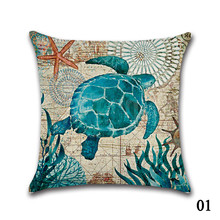 Marine Ocean Style Sea Turtle Patterns Square Cotton Linen Sea Horse Sofa Throw Cushion Covers octopus Home Decor Pillows