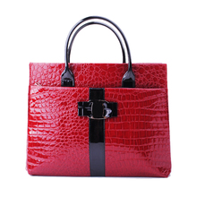 Black & Red Hot Sale Women Handbag Luxury OL Lady Crocodile Pattern Hobo Tote Shoulder Bag