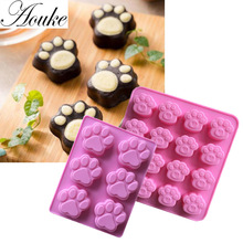 Dog cat foot footprint DIY Silicone cake mold Chocolate mould ice soap Fondant Sugarcraft Cake Tool Cookie DecoratingD075/K112(China)