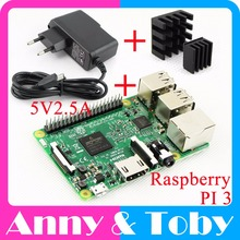 Raspberry Pi 3 Model B Board+Heat Sink+Power Adapter AC Power Supply.Rasp PI3 B,PI 3 B,PI 3B.1GB LPDDR2 Quad-Core WiFi&Bluetooth(China)