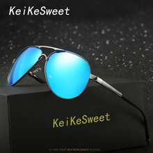KeiKeSweet Hot HD Polarized UV400 Cool Top Men Women Metal Sunglasses Rayed Aviation Brand Designer Car Driving Blue Sun Glasses