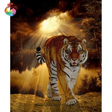 5D diy diamond painting animal tiger pictures of rhinestones square cross stitch needlework home decorative relative gifts