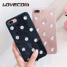 LOVECOM Luxury Crystal Diamond Phone Case For iPhone 6 6S 7 8 Plus X Transparent Soft TPU Jewelled Epoxy Phone Back Cover Cases(China)