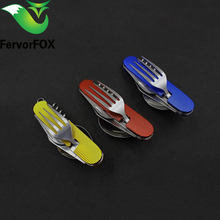Outdoor Tableware Camping Folding Spoon Fork Knife Set Portable Travel Hiking Stainless Steel Pocket Picnic Spoon Fork Knife