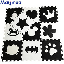 "New 10pcs 11.8""*11.8"" Puzzle Floor GYM Soft Kids Foam Mat Black&White baby play puzzle number letter cartoon eva foam mat"