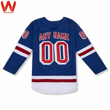 Custom Made Men/Women/Youth High Quality Stitched Logos&Name&Number Hockey Jerseys Big&Tall Size Color Blue White(China)