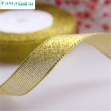 3 roll Gold Onions Belt Ribbon for Gift Packaging, Golden and Silver Glitter Webbing Decoration Gift Christmas Ribbons 2cm(China)