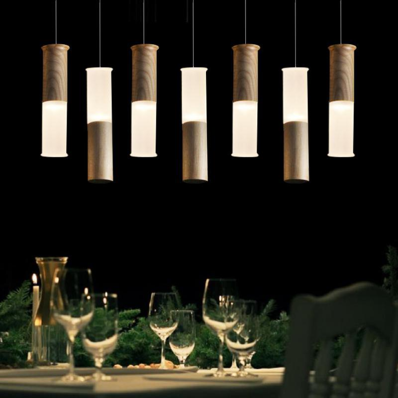 Led Restaurant Bar Coffee Shop Hotel Chandelier Wood Round Circular Rectangle Chandelier Six Lamp Led Wooden Column Light<br>