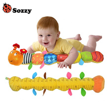 Sozzy Baby Toy Musical Caterpillar Rattle with Ring Bell Cute Cartoon Animal Plush Doll Early Educational(China)
