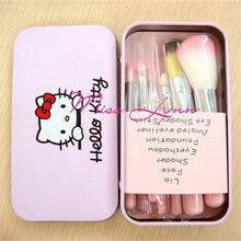 Newest makeup brushes Hello Kitty 7pcs mini brush pink kit Sets for eyeshadow blush Cosmetic Brushes Tool with metal box