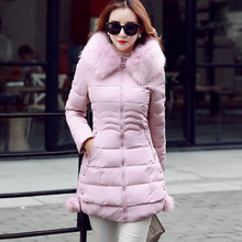 XMY3DWX Women are thickening in winter Hooded long Down jacket/women Slim fit Heavy hair collar Cotton-padded clothes coat XXXL