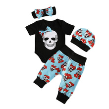 4pcs Newborn Babys Girls Clothes Jumpsuit Romper Bodysuit Long Pants Outfit Set skull Ghost Halloween Clothes(China)