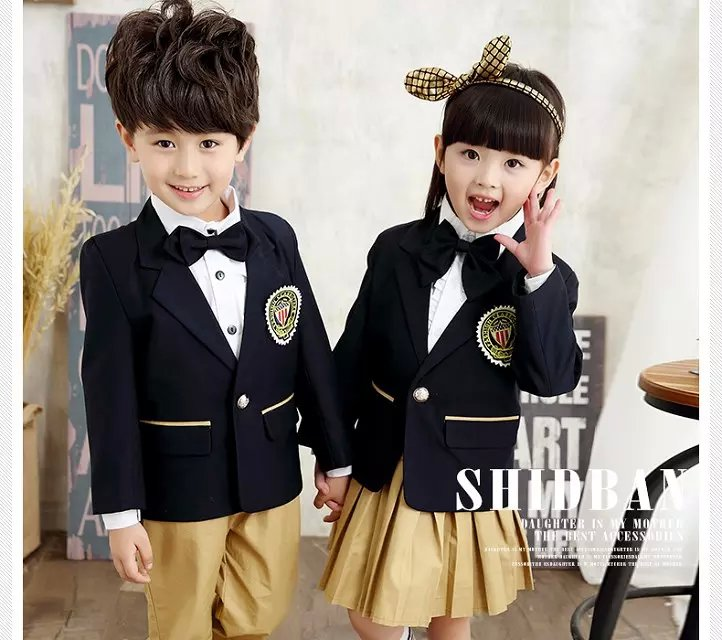 Children Primary School Uniform Students Chorus Costumes Clothing Long sleeve Autumn And Winter British Student School Uniforms<br>