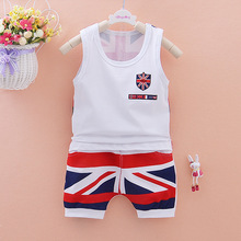 New Summer Wear Suit Pattern British Flag Children Boys Girls Garment Catamite Male Baby Fashion Vest Shorts Suit Twinset