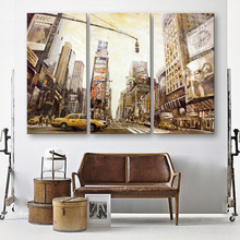 Oil Painting Canvas Landscape Busy City Wall Art Decoration Modular Painting Home Decor On Canvas Modern Wall Prints(3PCS)(China)