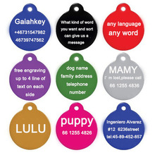 Personalized Dog Collars Pet Dog Cat Tag ID Phone Telephone Alloy Round Shape Charm Pet Tags DIY Dog Tags Free Engraved