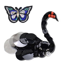 Beaded Black White Swan Butterfly Ant Beetle Cherry DIY Clothes Patches for Clothing Sew-on Embroidered Patch Motif Sequins Appl