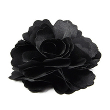 Silk Flower Hair Clip Wedding Corsage Flower Clip 8cm - Black