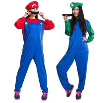 Unisex Women Men Super Mario Cosplay Costume Plumber Adult Clothing Fancy Dress Party Supplies