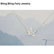 925 Sterling Silver Jewelry Nice Paper Hollow Crane Necklace For Women, Free Shipping